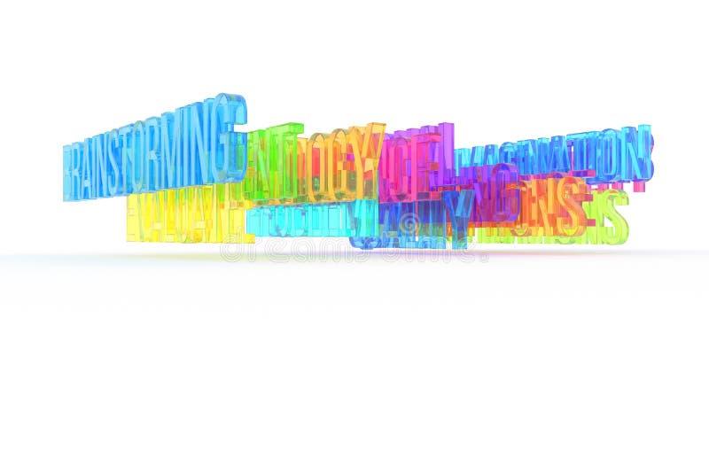 Brainstorming, biznesowi konceptualni kolorowi 3D słowa Grafika, abecadło, rendering & sieć, ilustracji