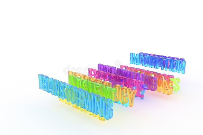 Brainstorming, biznesowi konceptualni kolorowi 3D słowa Komunikacja, typografia, podpis & tło, ilustracji