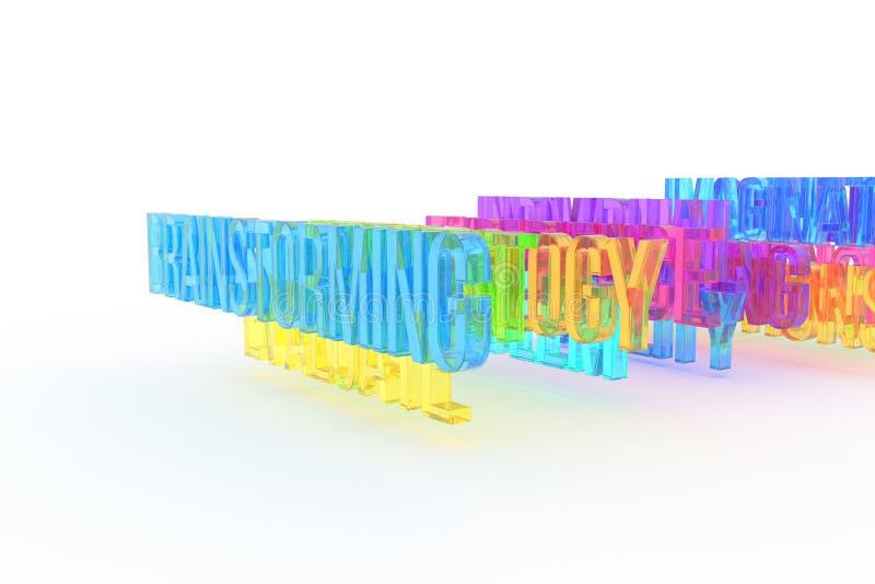Brainstorming, biznesowi konceptualni kolorowi 3D słowa Komunikacja, wiadomość, ilustracja & tło, royalty ilustracja