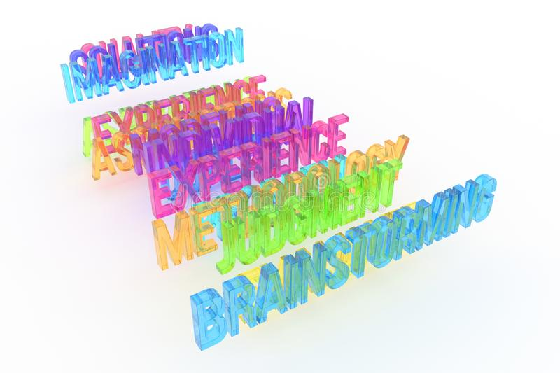 Brainstorming, biznesowi konceptualni kolorowi 3D słowa Tło, ilustracja, abecadło & tytuł, ilustracji