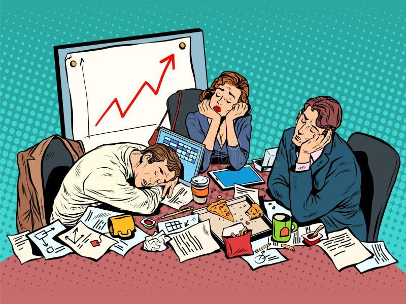 Brainstorming biznesowy pojęcie póżno w wieczór ilustracja wektor