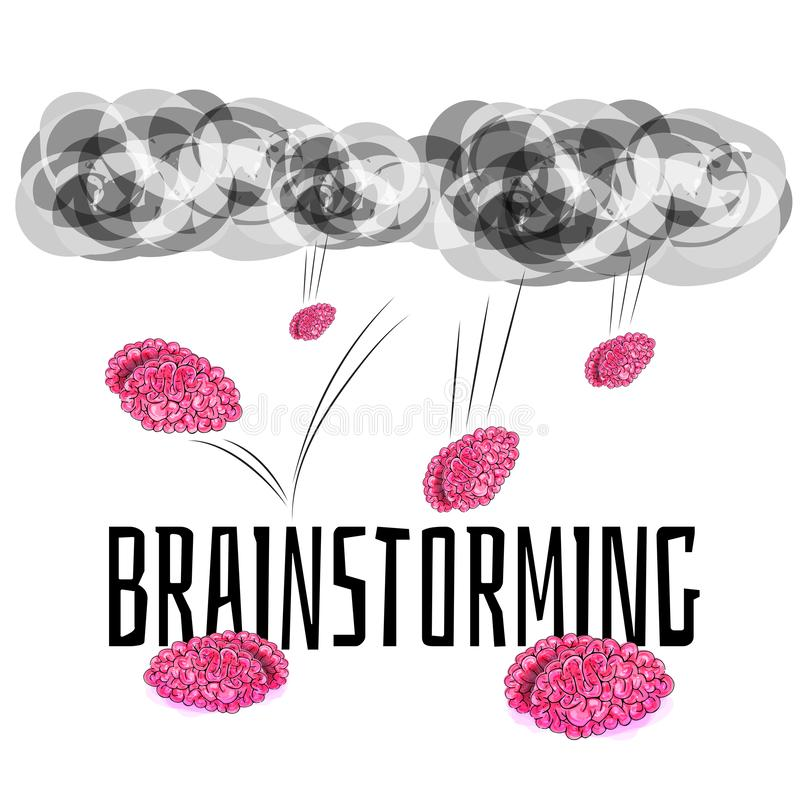 Brainstorming - brains falling from the sky vector illustration