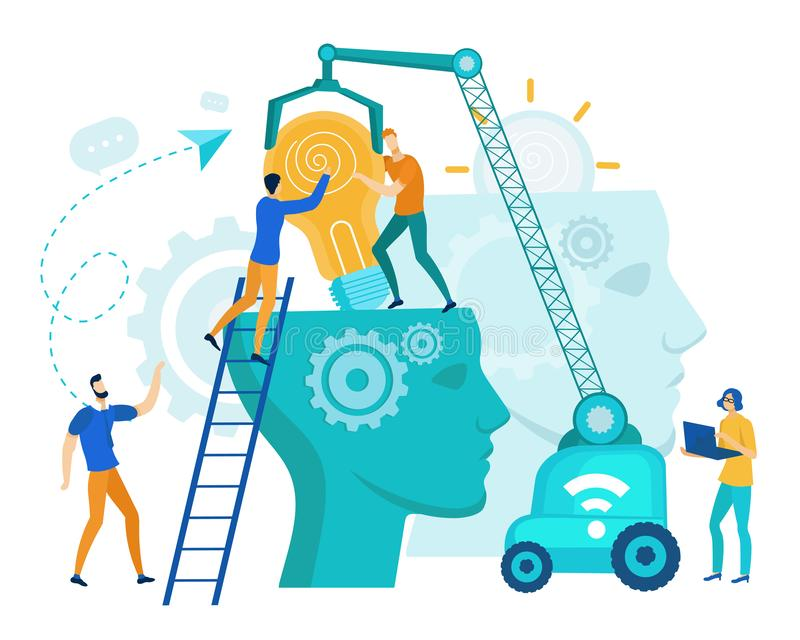 People Putting Lightbulb into Head with Gears. vector illustration