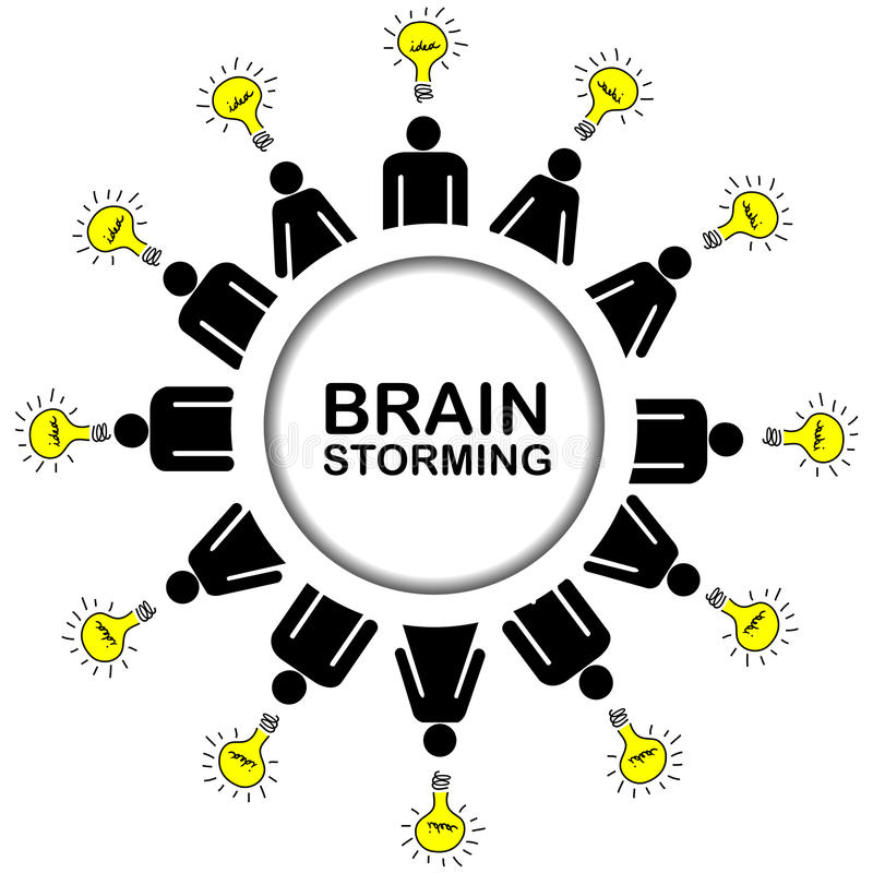 Brainstorming concept with people having ideas vector illustration