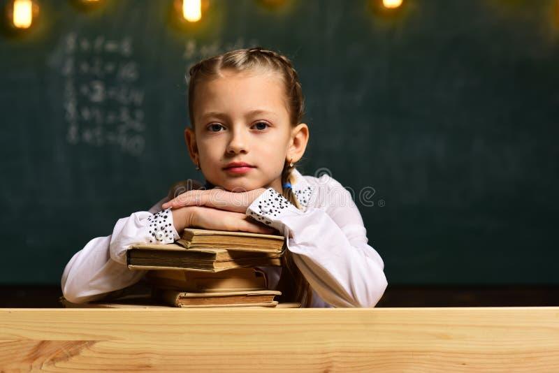 brainstorming Concepto de la reunión de reflexión pequeña reunión de reflexión de la muchacha en la lección de la escuela ciencia imagenes de archivo