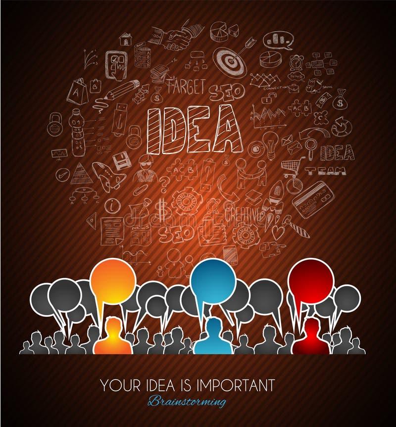 Brainstorming concepual wizerunek z ręka rysującym biznesowym doodle royalty ilustracja