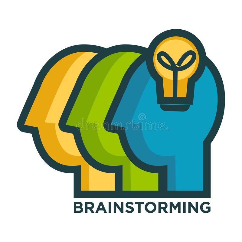 Brainstorming creative icon of head and idea lamp light vector illustration