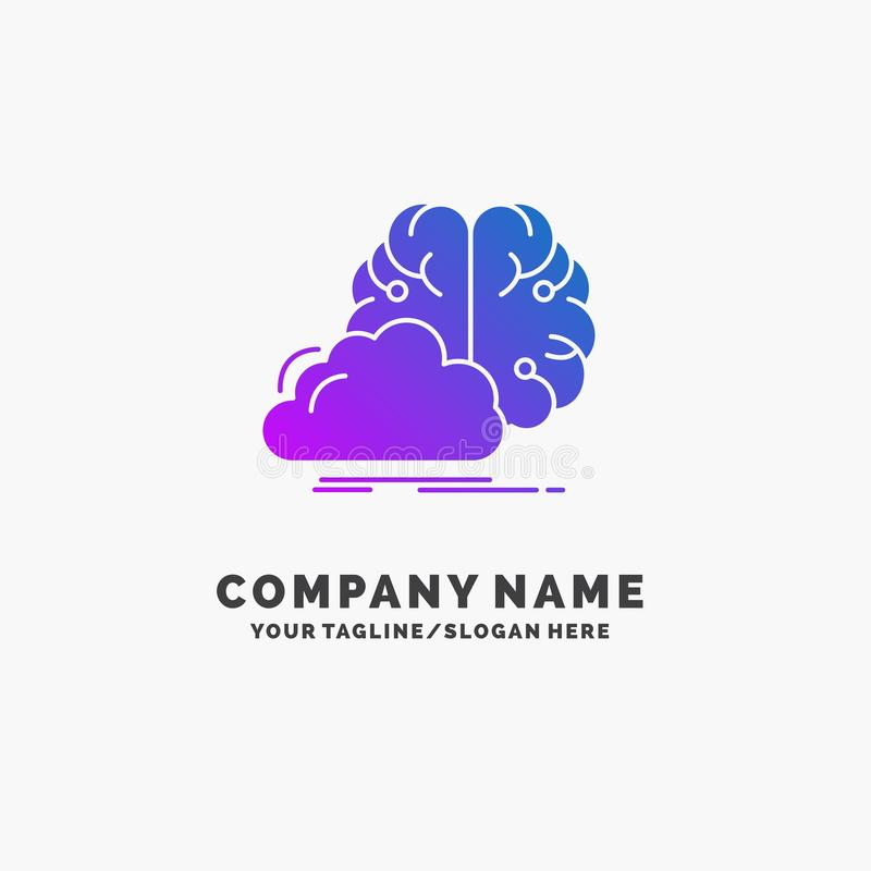 brainstorming, creative, idea, innovation, inspiration Purple Business Logo Template. Place for Tagline stock illustration