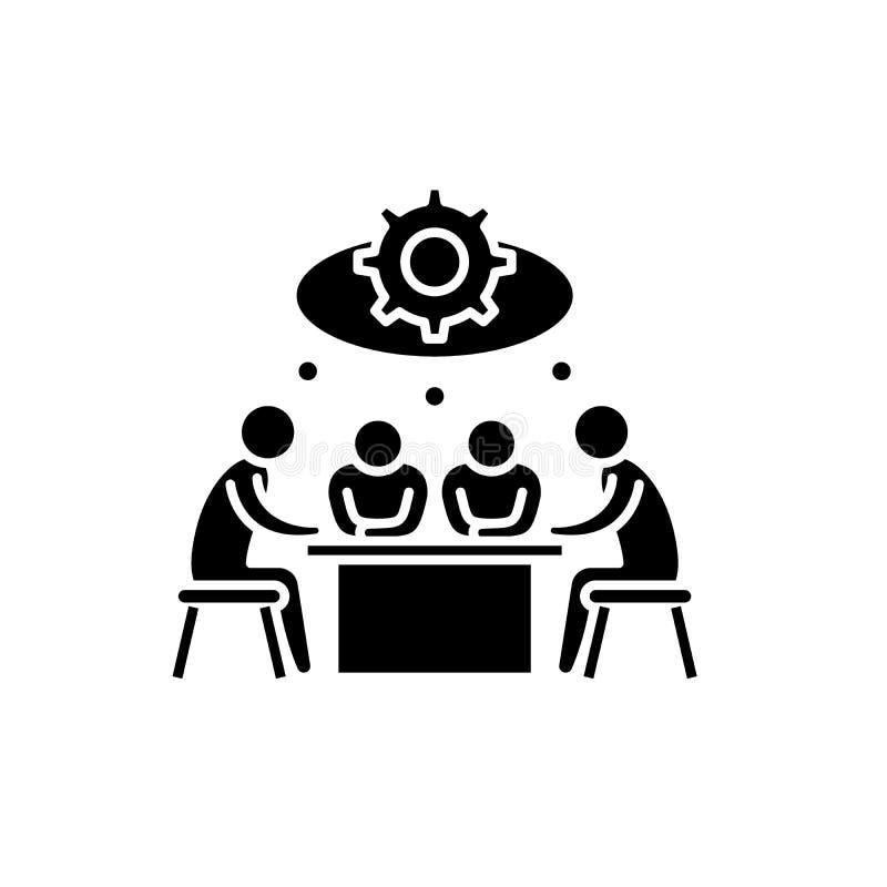 Brainstorming czarną ikonę na odosobnionym tle, wektoru znak Brainstorming pojęcia symbol, ilustracja ilustracji