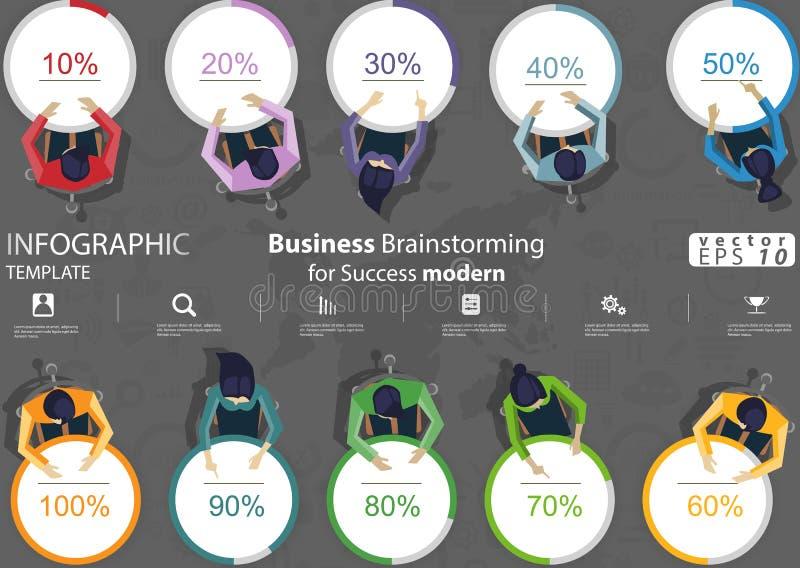 'brainstorming' di affari per il modello di Infographic dell'illustrazione di vettore di idea e di concetto di progettazione mode fotografia stock