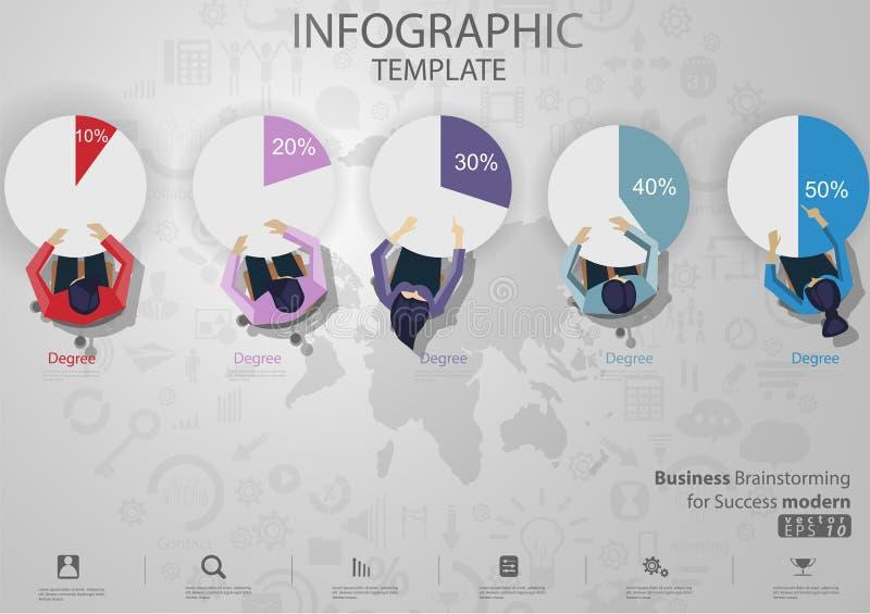 'brainstorming' di affari per il modello di Infographic dell'illustrazione di vettore di idea e di concetto di progettazione mode immagini stock