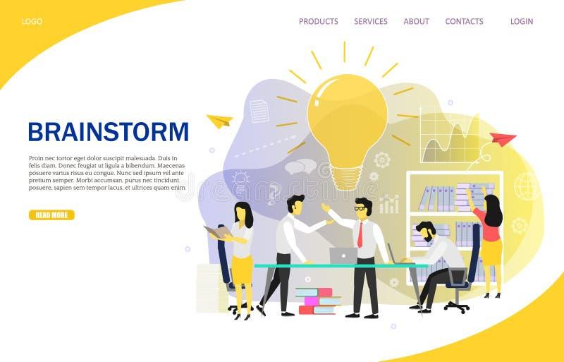 Brainstorming drużynowego lądowanie strony strony internetowej wektoru szablon ilustracja wektor