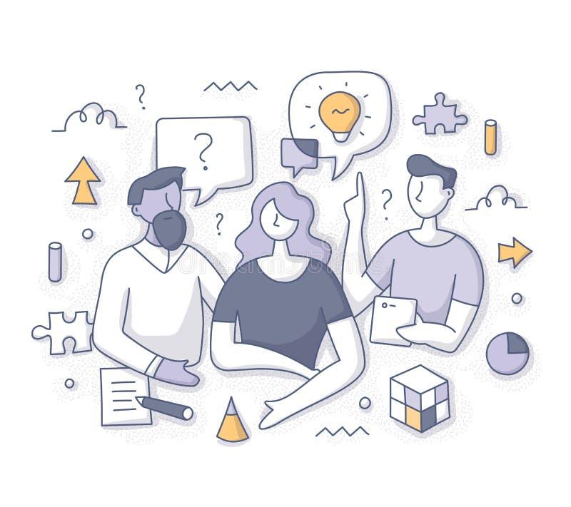 Brainstorming en het Oplossen van Probleemconcept royalty-vrije illustratie