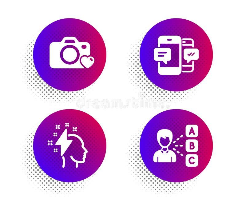Brainstorming, fotografii kamera i Smartphone sms ikony ustawiać, Pogl?dowy znak wektor ilustracji