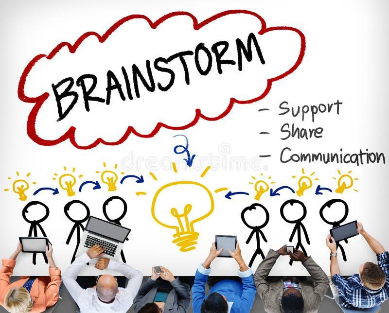Brainstorming główkowania poparcia części komunikaci pojęcie ilustracji