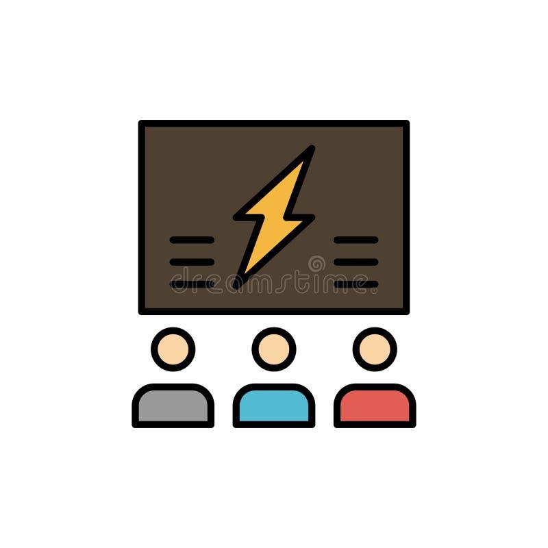 Brainstorming, grupa, pomysł, rozwiązanie, drużyna, myśl, Myśląca Płaska kolor ikona Wektorowy ikona sztandaru szablon royalty ilustracja