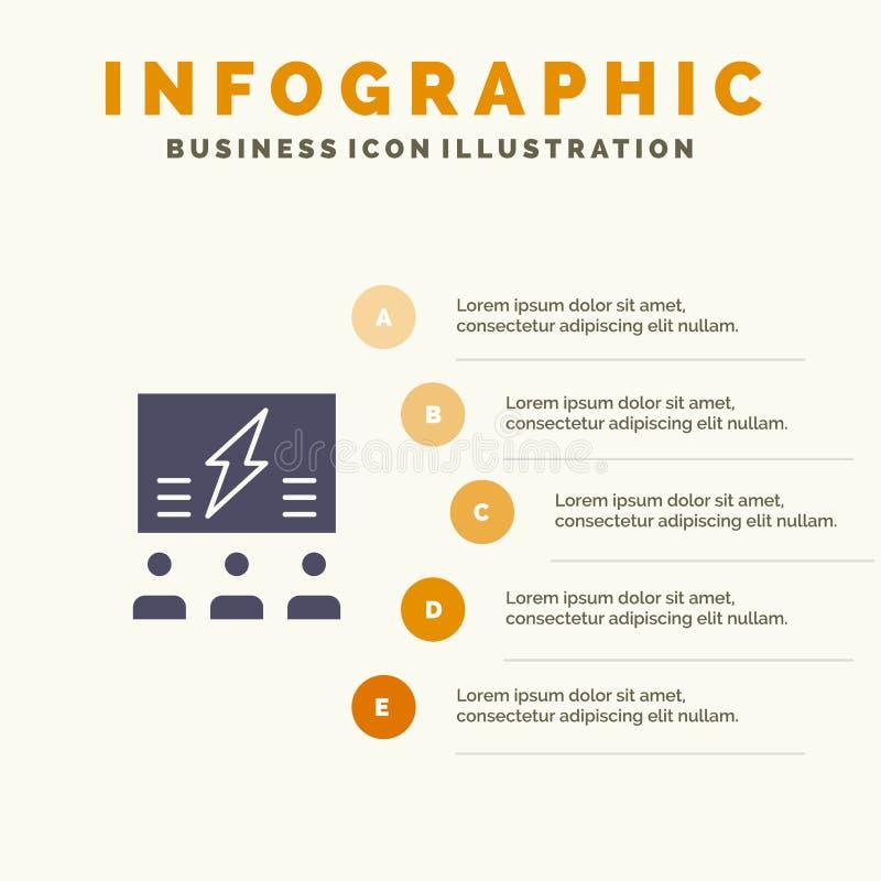 Brainstorming, grupa, pomysł, rozwiązanie, drużyna, myśl, Myślący Stały ikony Infographics 5 kroków prezentacji tło royalty ilustracja
