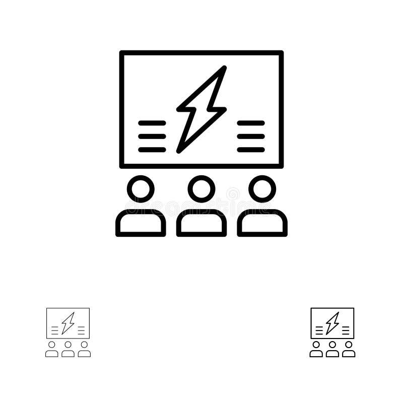 Brainstorming, grupa, pomysł, rozwiązanie, drużyna, myśl, Myśleć Śmiałego i cienkiego czerni linii ikony set ilustracja wektor