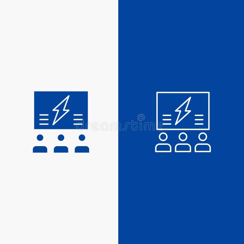 Brainstorming, grupa, pomysł, rozwiązanie, drużyna, myśl, Myśleć linii i glifu Stałą ikonę Błękitnej ikony Stały błękit ilustracja wektor