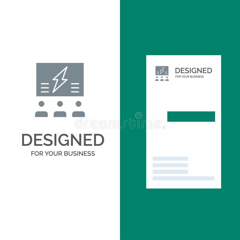 Brainstorming, grupa, pomysł, rozwiązanie, drużyna, myśl, Myśleć Popielatego logo projekt i wizytówka szablon ilustracja wektor