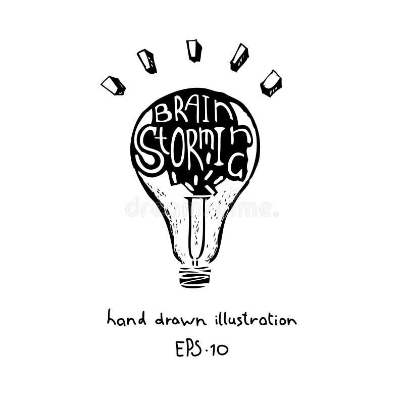 Brainstorming i narodziny pomysłu pojęcie wręczamy patroszonego ilustracja wektor