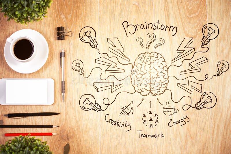 Brainstorming i pracy zespołowej pojęcie obraz royalty free