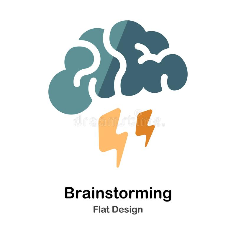 Brainstorming Flat Icon. Brainstorming Icon In Flat Color Design Vector Illustration royalty free illustration