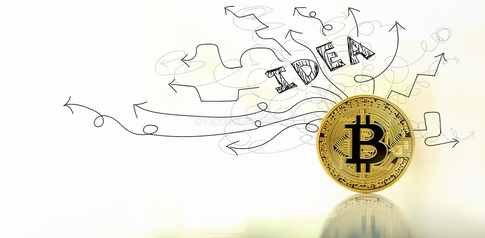 Brainstorming idea arrows with bitcoin royalty free stock images