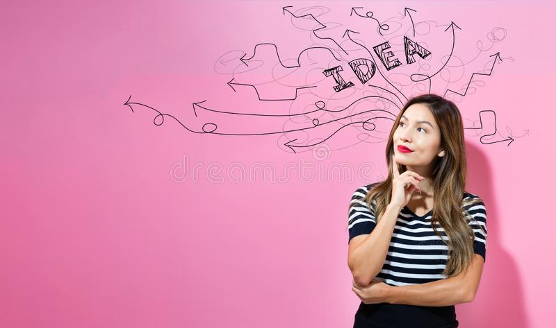 Brainstorming idea arrows with young businesswoman stock photos