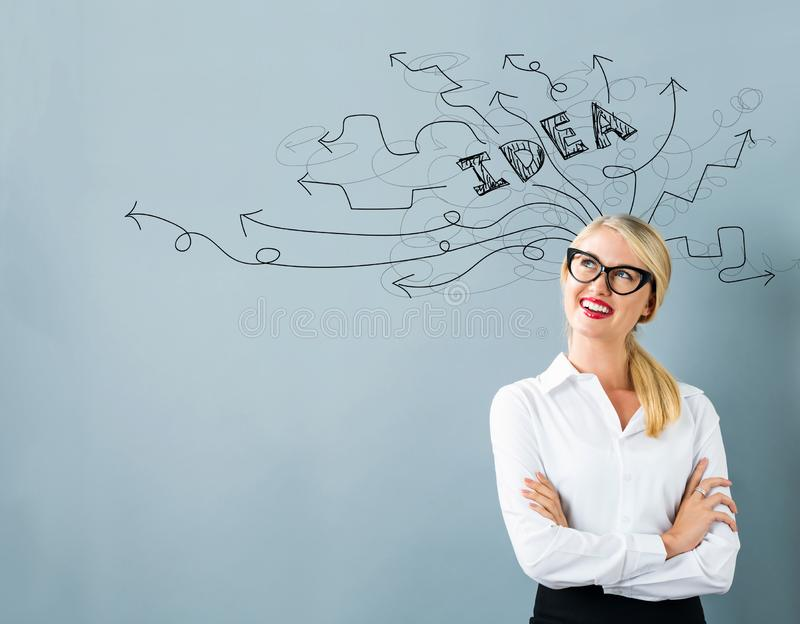 Brainstorming idea arrows with young woman royalty free illustration