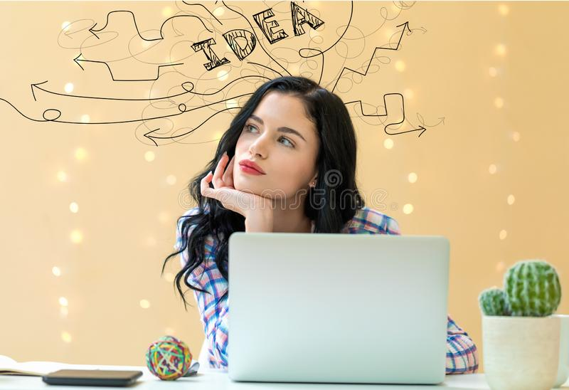 Brainstorming idea arrows with young woman royalty free stock image