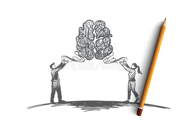 Brainstorming, Idee zusammen kreativ, Teamwork-Konzept Hand gezeichneter lokalisierter Vektor stock abbildung
