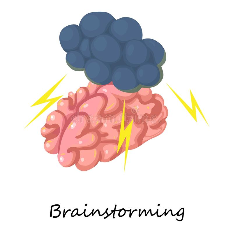 Brainstorming ikona, isometric 3d styl ilustracja wektor