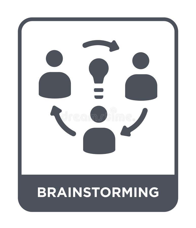 brainstorming ikona w modnym projekta stylu Brainstorming ikona odizolowywająca na białym tle brainstorming wektorowa ikona prost ilustracji