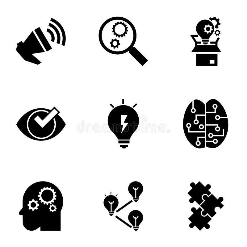 Brainstorming ikony set, prosty styl ilustracji