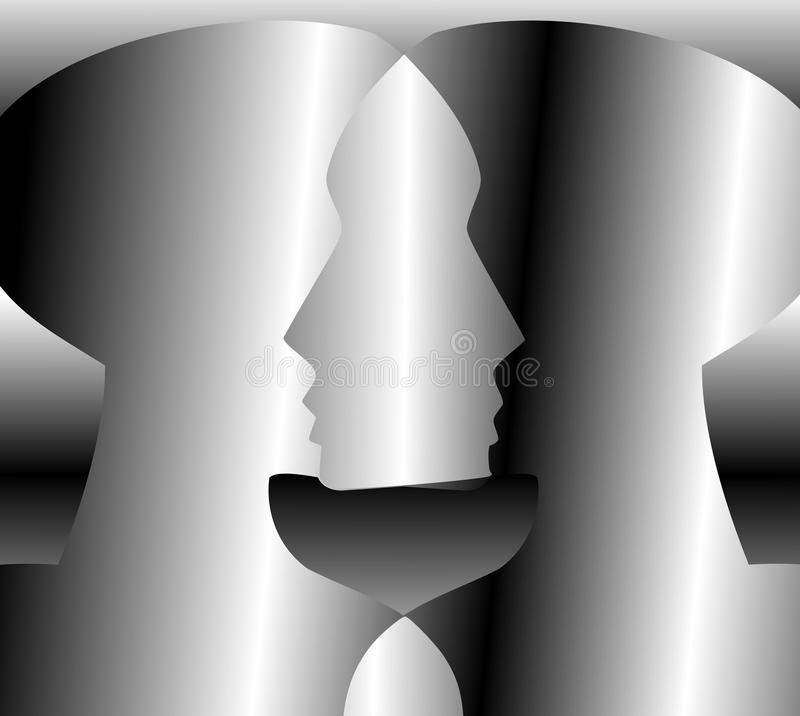 Illustration representing the concept of Brainstorming. Image representing the concept of brainstorming through two heads melted together to creat a new form royalty free illustration