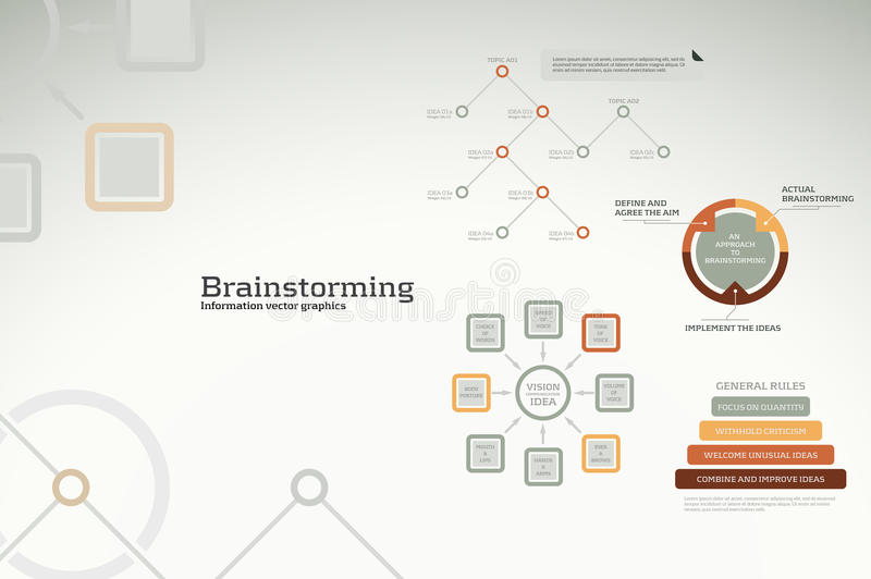 Brainstorming infographics - ideas, graphs, charts royalty free illustration