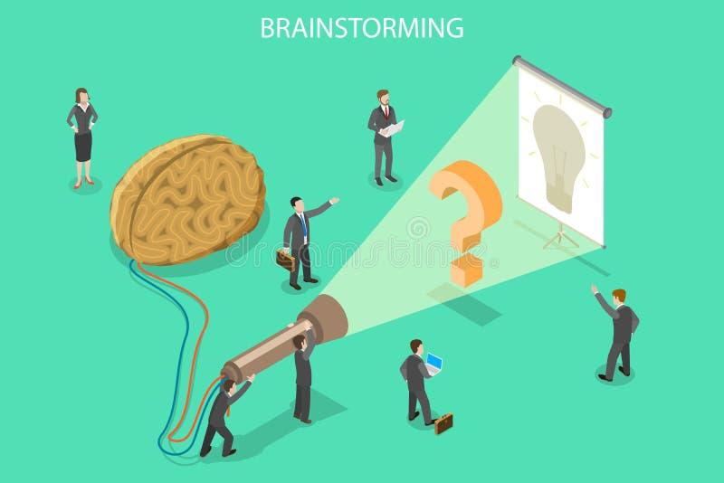 Brainstorming, innowaci i rozwiązania isometric płaski wektorowy pojęcie, ilustracji
