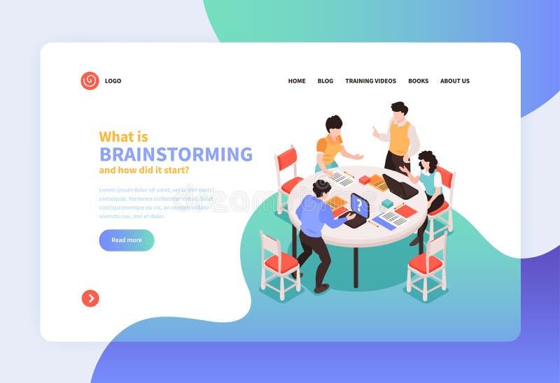 Brainstorming Isometric strony internetowej stronę ilustracja wektor