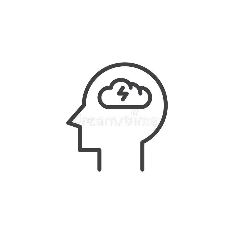 Brainstorming kierowniczą kontur ikonę ilustracji