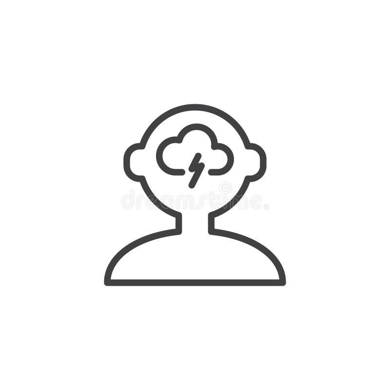 Brainstorming kontur ikonę ilustracja wektor
