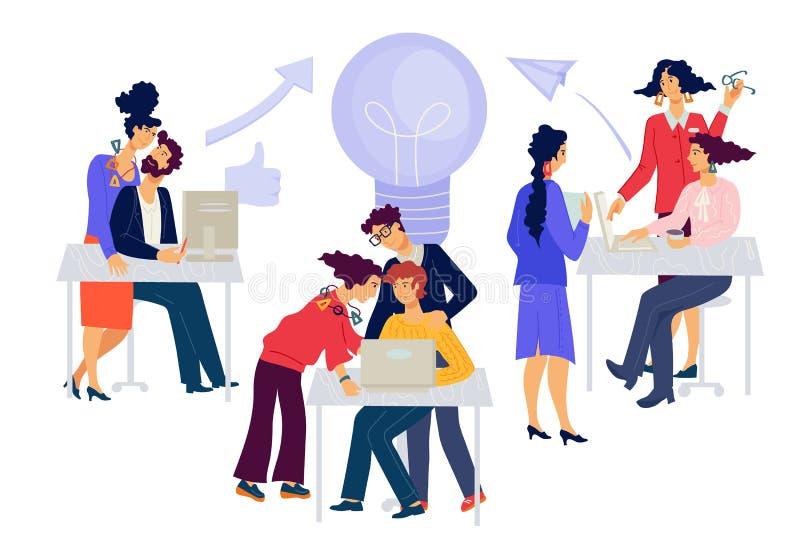 Brainstorming Kreativ arbeitende Männer und Frauen lizenzfreie abbildung
