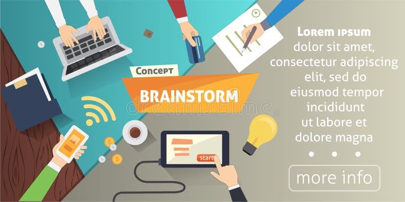 Brainstorming kreatywnie drużynowego pojęcie w mieszkanie stylu Ludzie biznesu inkasowi Ręki z biznesowymi gadżetami ilustracyjny ilustracja wektor