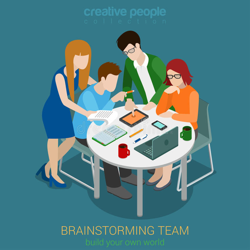 Brainstorming kreatywnie drużynowych ludzi płaskiego 3d sieci wektoru isometric ilustracji