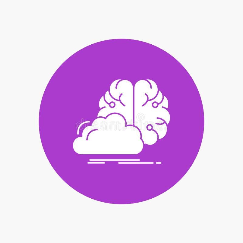 brainstorming, kreatywnie, pomysł, innowacja, inspiracja glifu Biała ikona w okręgu Wektorowa guzik ilustracja ilustracji