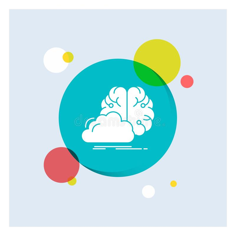 brainstorming, kreatywnie, pomysł, innowacja, inspiracja glifu Białej ikony okręgu kolorowy tło ilustracji