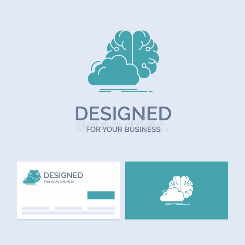 brainstorming, kreatywnie, pomysł, innowacja, inspiracja logo glifu ikony Biznesowy symbol dla twój biznesu Turkusowe wizyt?wki royalty ilustracja