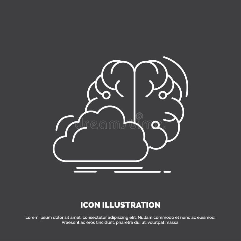 brainstorming, kreatywnie, pomysł, innowacja, inspiracji ikona Kreskowy wektorowy symbol dla UI, UX, strona internetowa i wisz?ce royalty ilustracja