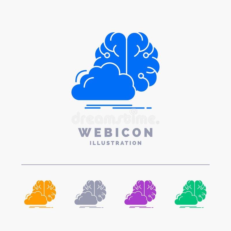 brainstorming, kreatywnie, pomysł, innowacja, inspiracji 5 koloru glifu sieci ikony szablon odizolowywający na bielu r?wnie? zwr? royalty ilustracja