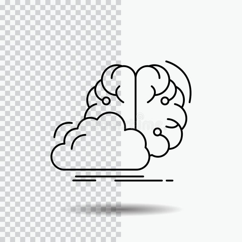 brainstorming, kreatywnie, pomysł, innowacja, inspiracji Kreskowa ikona na Przejrzystym tle Czarna ikona wektoru ilustracja royalty ilustracja